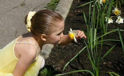 Mädchen riecht an Blume - Pollenallergie Behandlung und Massnahmen